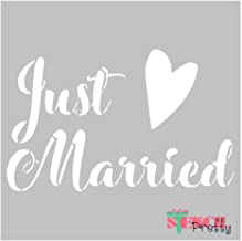 Museum Grade Ultra Thick Clear Color Material Stencil - Just Married Heart DIY Wedding Day Sign Making Template-XS (7