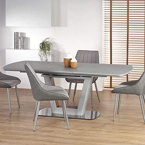 Bilotti 160-200cm Grey Glass & Light Grey Matt Modern Extendable Dining Table