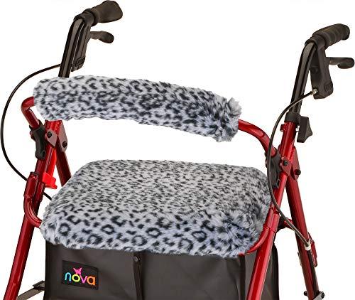 """NOVA Medical Products NOVA Rollator Walker Seat & Backrest Cover Set, Removable and Washable, Faux Fur """"Snow Leopard"""" Design"""
