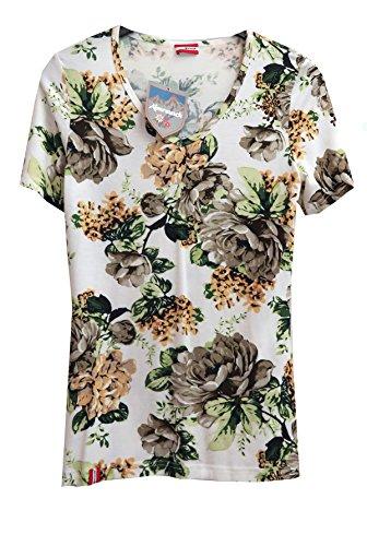 Almrausch Damen Trachten T-Shirt weiß grün mit Blumen Gr.XL