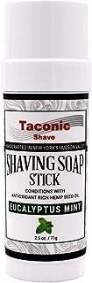 Taconic Shave Eucalyptus Mint Shaving Soap Stick with Antioxidant-Rich Hemp Seed Oil 2.5 oz./71g