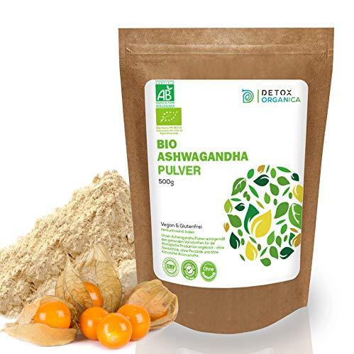 Detox Organica Ashwagandha Pulver BIO 500g // ECHTE Indische Withania Somnifera // Reines Bioprodukt in Premiumqualität // Schlafbeere, indischer Ginseng, Winterkirsche // Root Powder