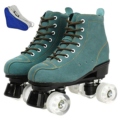 XUDREZ Roller Skates with Light Up Wheels, 4 Wheel Adjustable Quad Roller Skates Boots Adult and Youth, Indoor and Outdoor (Blue does not flash white round,38)