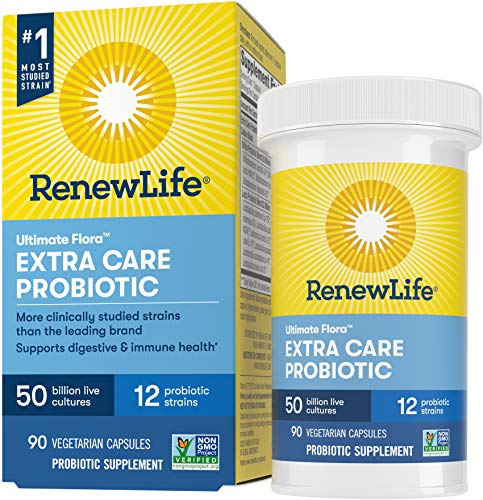 Renew Life Adult Probiotics 50 Billion CFU Guaranteed, Probiotic Supplement, 12 Strains, Shelf Stable, Gluten Dairy & Soy Free, 90 Capsules, Ultimate Flora...