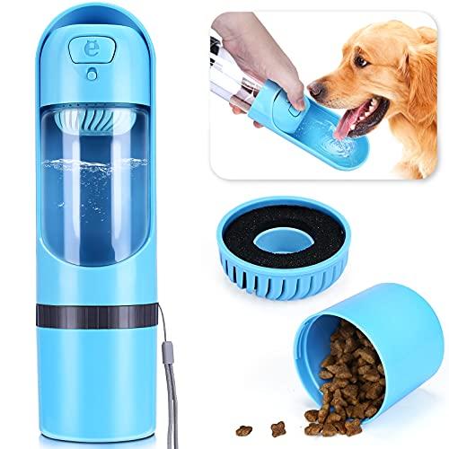 HAPPY HACHI Botella Agua Perro Portatil 300ml con Filtro, Recipiente Viaje Comida Plegable 130ml, Prueba Fugas Dispensador Cachorro para Paseo Aire Libre Azul
