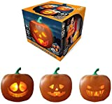 Halloween Pumpkin Projection Lamp, Talking Animated Pumpkin with Built-in Projector & Speaker, Singing/Talking/Joking Pumpkin for Halloween Party Front Porch