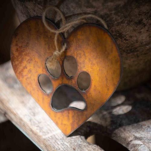 Juyuntong Paw Print Heart - Rustic Rusted Paw Print Heart Garden Sign, Rusty Metal Heart Garden Sculpture Ornament Metal Art