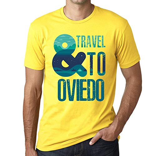 One in the City Hombre Camiseta Vintage T-Shirt Gráfico and Travel To Oviedo Amarillo