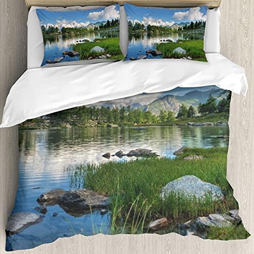 Ultraweicher Bettbezug,Sommeransicht des Arpy-Sees in der Nähe,Mikrofaser-gewaschene Bettdecke mit verstecktem Reißverschluss, für Ganzjahresbettwäsche 3er-Set (1 Bettbezug 78x78Zoll + 2 Kissenbezug)