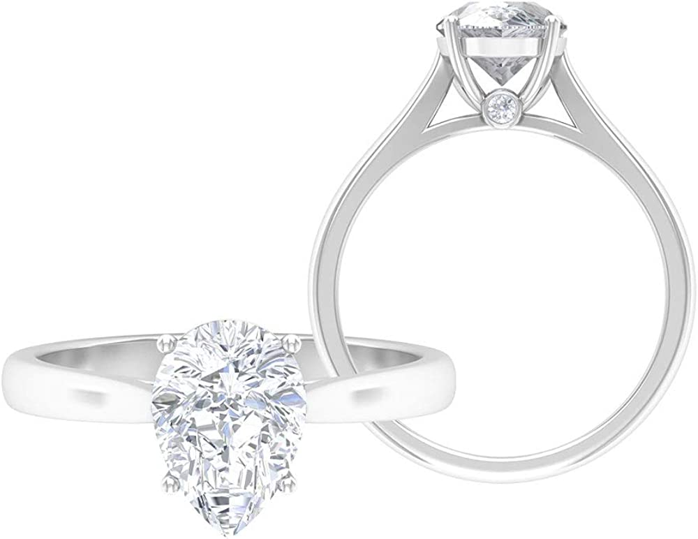 Solitaire Wedding Ring Latest item D-VSSI 1.9 CT Moissan High order 7X10 MM Pear Shape