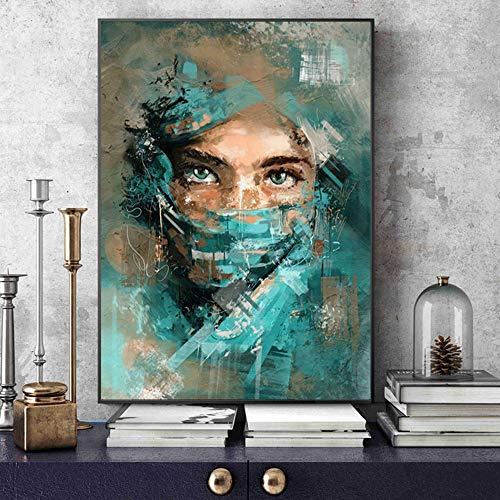 Mubaolei Retrato de Mujer Abstracta Lienzo Pared Arte Cartel e Impresiones Pintura Acuarela Imagen para decoración de Sala de Estar 60x80cm