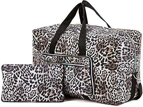 Bolsa de Viaje Grande y Plegable para Llevar en el Fin de Semana Durante la Noche sobre el Equipaje con Correa para el Hombro, Estampado de Leopardo
