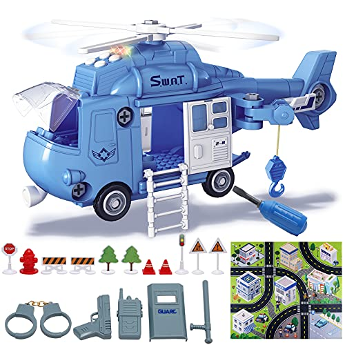 LAOSLAISI Toddler Toys for 3-5 Year Old Boys,Airplane Toy Helicopter Police Airplane Building Toys Set with Lights Sounds,Gift Toys for Boys Girls Kids Age 3-7