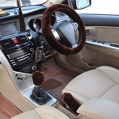 JIAL Auto Plüsch Mode Universal Lenkrad Abdeckung Winter Warm Plüsch DREI Teiler Anzug Rosa Auto Zubehör Pelz (Farbe: Schwarz) Chongxiang (Color : Brown)