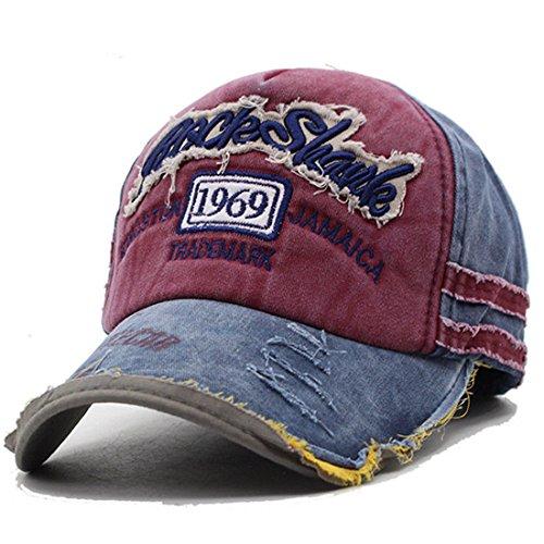 Kuyou Distressed Basecap Snapback Outdoor Baseball Kappe Mütze, Weinrot, Einheitsgröße
