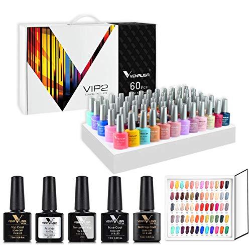 VENALISA Manicurist VIP Gel-Nagellack-Set für professionelle Anwendung, 60 Farben, mit Farbkarte, Grundierung und Überlack, UV-LED, Soak-Off-Gel-Nagellack, Emaille, Starter-Set für DIY-Maniküre