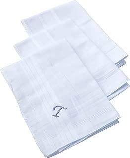 OWM Handkerchief Pack of 3 Cotton Embroidered Initial Monogram Handkerchief Men