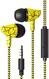 XuBa Wired Crack Sports Headphone Super Bass 3.5mm Earphone Earbud with Microphone Hands Free Headset for Gymnasium Fitness Exercise Running Yellow