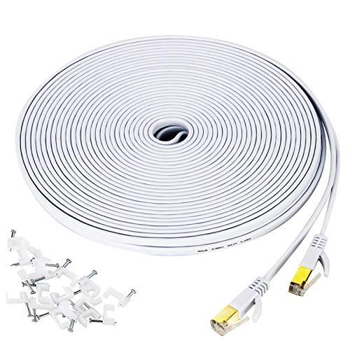 YOREPEK Cat 7 Ethernet Kabel Computer 15M Netzwerkkabel Flach Gigabit Lan 10 Gbit/S RJ45 Ethernet Lan Cat7 Hochgeschwindigkeits-Netzwerkkabel Kompatibel für Router Modem Switch PS4/3 Patchpannel, Weiß