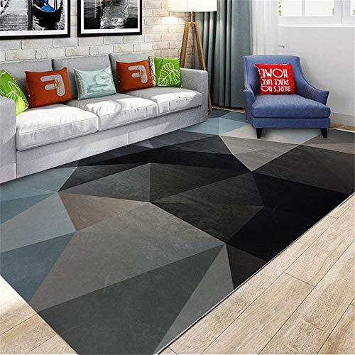 Vloerkleed, ademend, moderne geometrische stijl, zwart, klassiek driehoekig, geometrisch design, antislip tapijt, voor in de woonkamer, duurzaam