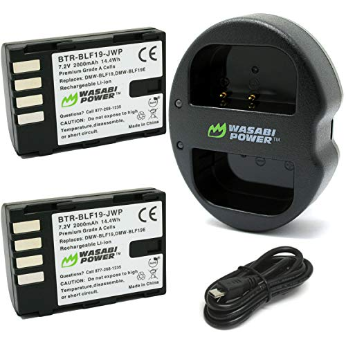 Wasabi Power Battery (2-Pack) and Dual USB Charger for Panasonic Dmw-BLF19 and Panasonic Lumix DMC-GH3, DMC-GH4, Dc-GH5, Dc-GH5s, Dc-G9 (KIT-BB-BLF19-01)