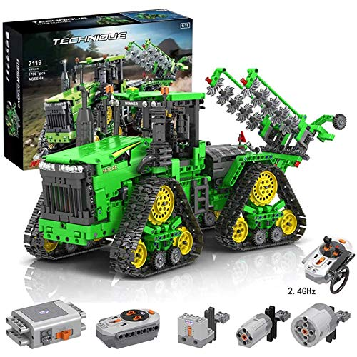 WANCHENG Technik Traktor Ferngesteuert mit Allrad, 1706 Teile Traktor Raupentraktor LKW mit 3 Motoren und 1 Empfänger, Crawler Mehrere Montagemethoden, Kompatibel mit Lego