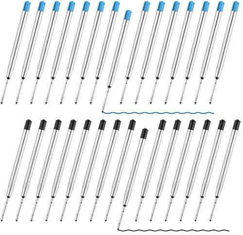 Sweetone kugelschreiber minen, 30 Packungen Austauschbare Kugelschreiber Minen Metall Kugelschreiber Tinte Glatte Schreiben Kugelschreiber Nachfüllungen,15 Stücke Schwarze Tinte, 15 Stücke Blaue Tinte
