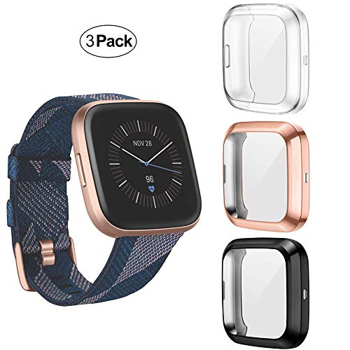Suoman 3-Pack for Fitbit Versa 2 Case, All-Around Protective TPU Bumper Cover Screen Portector Case for Fitbit Versa 2 Smartwatch, (Not Fit for Versa/Lite/SE) - Black+Rose Gold+Clear