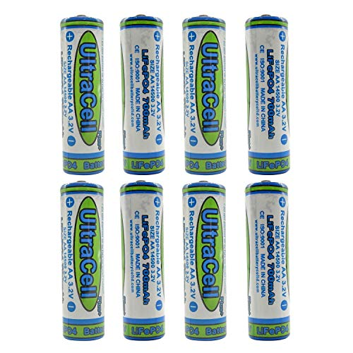UltraCell 3.2V AA 700mAh Rechargeable Battery for Solar Panel Light, Tooth Brush, Shaver, Flashlight (8-Pack)