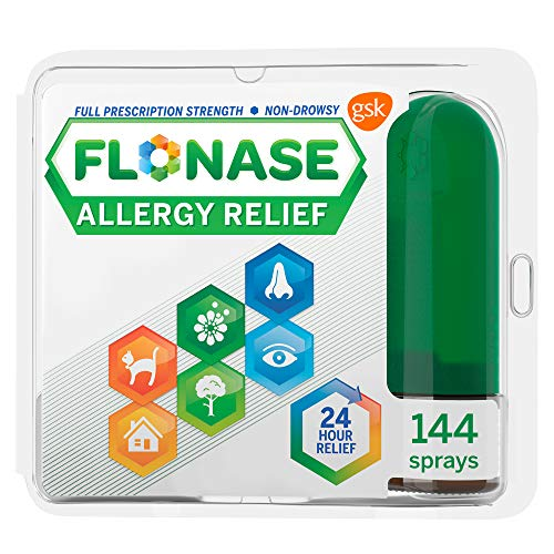 Flonase Allergy Relief Nasal Spray, 24 Hour Non Drowsy Allergy Medicine, Metered Nasal Spray - 144 Sprays
