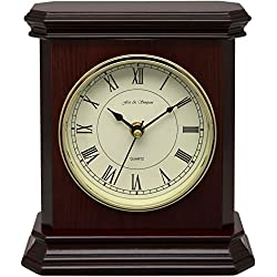 Fox and Simpson Mahogany Coloured Wood Table Mantel Clock