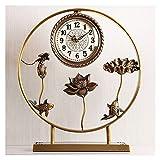 Tingting1992 Alarm Clock Table Clock Home Desktop Pure Copper Ornaments Living Room Retro Decoration Modern Light Luxury Desk Clock European Clock Desk Clock (Size : B)