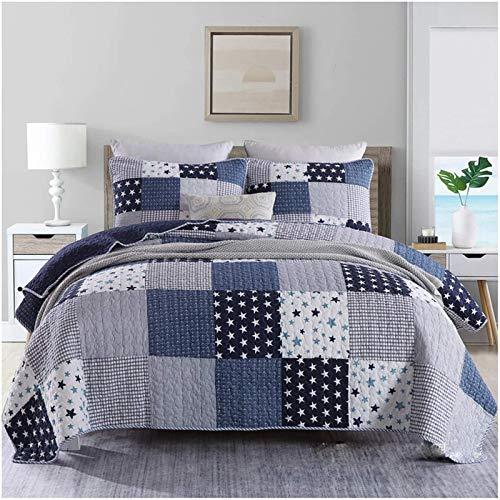 ZXLRH Colcha de patchwork, tamaño super king, azul, gris, 3 habitaciones, 100% algodón, con funda reversible, fundas de almohada