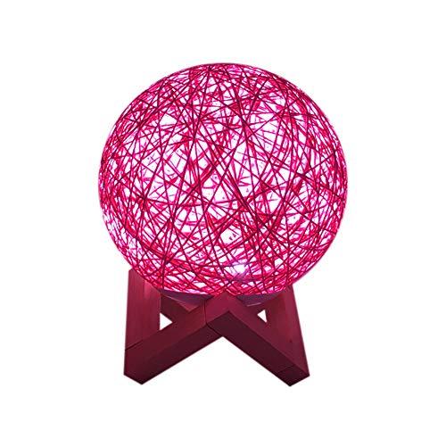 Becoler Rattan Moon Night Light, 3D USB Charging LED Creative Lamp Booklight Light Moonlight Table Desk Fashion Colorful Moon Lamp