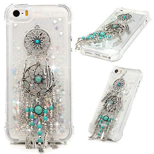 MOTIKO Funda para iPhone SE, iPhone 5S 5, 3D, con purpurina líquida, brillante, transparente, con cristales brillantes, de gel de TPU y silicona, a prueba de golpes, para iPhone SE 5S 5, atrapasueños