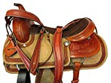 Western Roping Ranch Cowboy Saddle 15 16 17 Horse Trail Floral Tooled Leather (17 Inch)