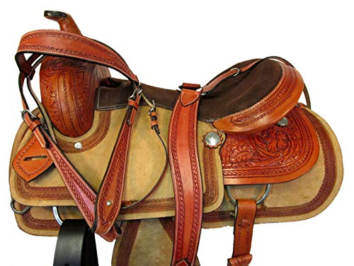 Custom Leather Tooled Horse Rope Border 15 16 17 Roping Ranch Western Trail Saddle Set (15 Inch)