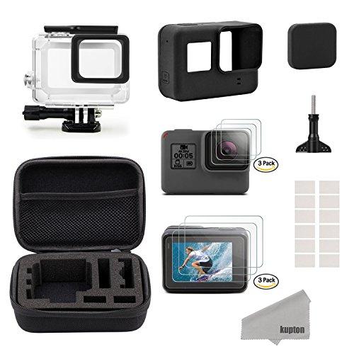 Kupton Accessoires voor GoPro Hero7 Zwart / (2018) 6/5 Zwarte Reistas Klein + Behuizing + Screenprotector + Lenshoes + Siliconen beschermhoes voor Go Pro Hero7 Zwart / (2018) 6/5 Buitensportkit