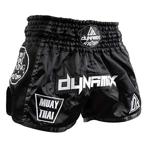 Dynamix Athletics Muay Thai Shorts Warpath - Schwarz - Premium Thai Short für Thaiboxen traditionelle Thaiboxhose für Herren mit Air-Tech-Gewebe und einzigartigen Muay Thai Stickereien (XL)