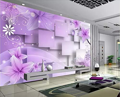Fototapete 3D Tapete Lila Warm Blumen Hintergrund Mauer 3D Effekt Vliestapete Wandbilder Wanddeko
