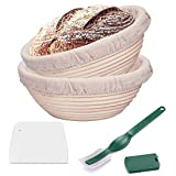 CHUSSTANG Banneton Bread Proofing Baskets -2pcs 10' /25cm Round Banneton Sourdough Proving Baskets Natural Rattan Proofing Bread Basket Tools Bowl(with 2*Linen Liner Cloth+ Dough Scraper+ Bread Lame)