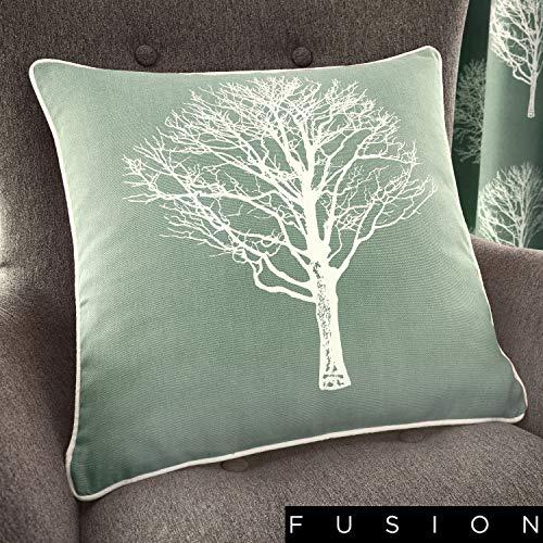 Paire de Rideaux à œillets Arbres, Coton, Bleu Canard, Filled Cushion 17x17 (43x43 cm)