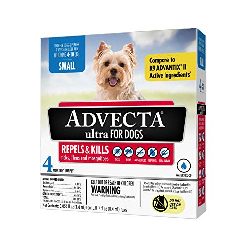 Advecta Ultra Flea & Tick Topical Treatment, Flea & Tick Control for Dogs, Small, 4 Month Supply
