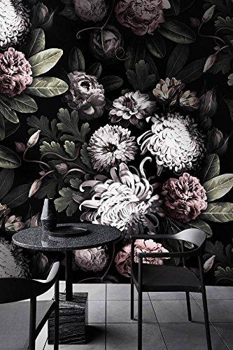 Dunkle Blumentapete, dunkle Blumen Tapete