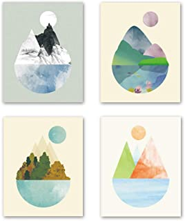 Unframed Abstract Mountain Wall Art Print , Watercolor Lake Forest Landscape Painting , Set of 4 (8