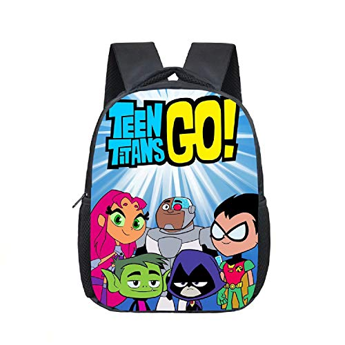 12' Toddler Backpack Teen Titans Go Anime Cartoon Kids School Shoulders Bag for Boys & Girls