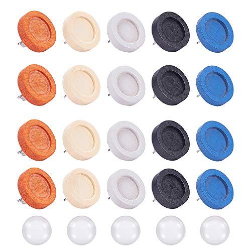 PandaHall 24 Pezzi 6 Colori Piatti Rotondi in Legno cabochon Orecchini orecchino Perno dell'orecchino con 24 Pezzi 12mm cabochon in Vetro Trasparente per Orecchini Gioielli Fai da Te