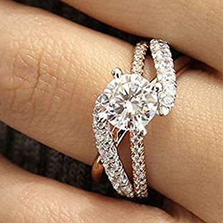 Metmejiao 18K Rose Gold Plated CZ Crystal Square Simulated Diamond Engagement Ring Promise Rings for Women (10)