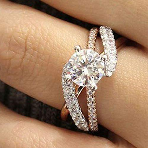 Mejor Aimys Fashion Ring Cushion Cut 4ct 5A Zircon Stone 925 Silver Engagement Wedding Band Ring for Women (6) crítica 2020