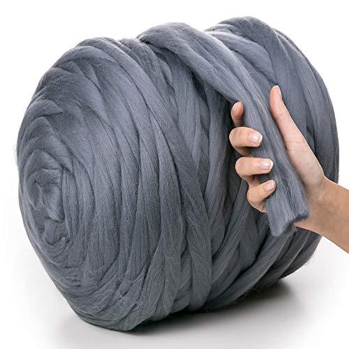 MeriWoolArt 100% Merinowolle Dick |50mm| Riese Wolle Garn Für Armstricken/Fingerstricken Decken Teppiche Schals Nicht – Pantoletten Filzen, Vorspinnen, Spinnen (Dunkelgrau, 500g)